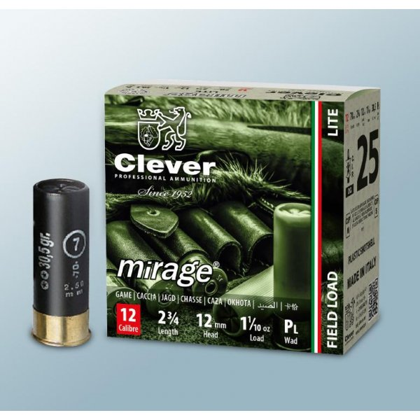 Cartus cu alice cal. 12/70, CLEVER Mirage T2 Lite, 1.9mm (10), 30.50g