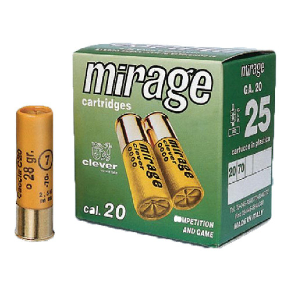 Cartus cu alice cal. 20/70, CLEVER Mirage, 3.5mm (2), 28.00g (Mirage, 3.5mm (2), 28.00g (cal. 20/70)) - Munitii arme lise - Nobel Sport Italia (by www.mldguns.ro)