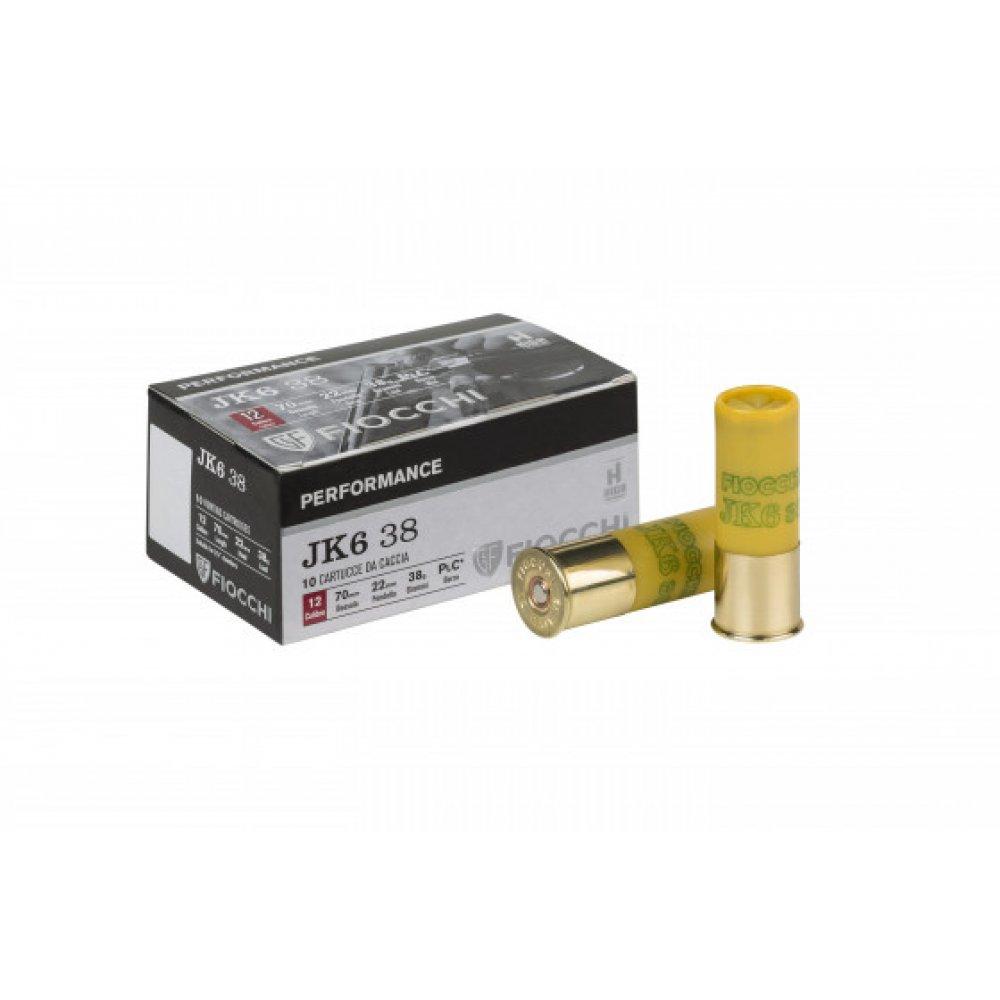 Cartus cu alice cal. 12/70, FIOCCHI JK6 38, 3.9mm (0), 38.00g (JK6 38, 3.9mm (0), 38.00g (cal. 12/70)) - Munitii arme lise - Fiocchi (by www.mldguns.ro)